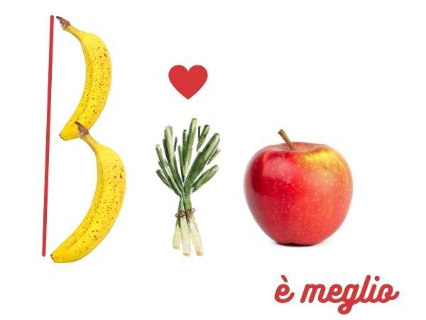 bio scritto con banane, porri e mela, è meglio